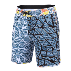 New V-Waist Block 18 Outseam Men Board Shorts Blue White Black Outlet