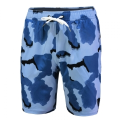 Men's Water Repellent Recycler 4-Way Stretch Swim Short With Double Elastic Waist Inner Mesh Digital Printing K20025