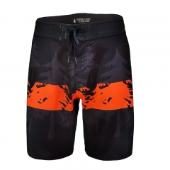 Men Water Repellent Recycler 4-Way Stretch Board Shorts With Digital Printing Binding Yoke K20022